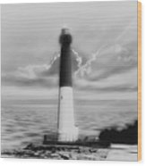 Barnegat Lighthouse In Black And White Wood Print