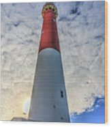 Barnegat Lighthouse In The Clouds Wood Print