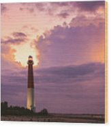 Barnegat Lighthouse Stormy Sunset Wood Print