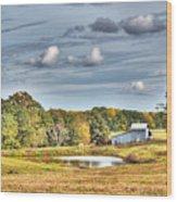 Barns And Pond On A Fall Day Wood Print