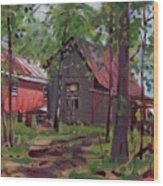 Barns In April Wood Print