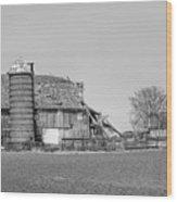 Barn's Last Season Bw  Wood Print