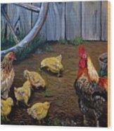 Barnyard Chickens Wood Print