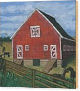 Barnyard On The Prairie Wood Print
