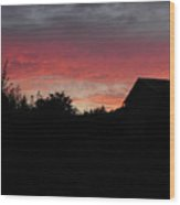 Barnyard Sunset Wood Print