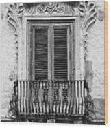 Baroque Balcony Window. Messina, Sicily.    Black And White Wood Print