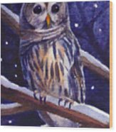 Barred Owl And Starry Sky Wood Print