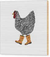 Barred Rock With Boots Wood Print