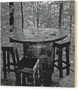 Barrel In The Woods Wood Print