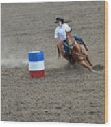 Barrel Racer Two Wood Print