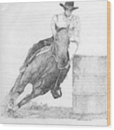 Barrel Racer Wood Print by Lucien Van Oosten