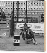 Barrel Racer Wood Print