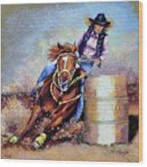 Barrel Rider Wood Print