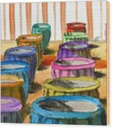 Barrels Of Color Wood Print