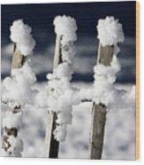 Barriere En Bois Recouverte De Neige Les Contamines Montjoie Haute Savoie Wood Print