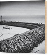 Barry Island Breakwater Film Noir Wood Print
