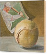 Baseball And Card Wood Print