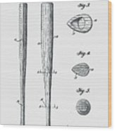 Baseball Bat Patent 1939 Wood Print