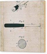 Baseball Bat - Patent Drawing For The 1902 John Hillerich Basebal Bat Wood Print