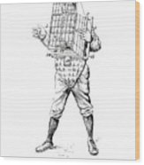 Baseball Catcher Cage - Restored Patent Drawing For The 1904 James Edward Bennett Catcher Cage Wood Print