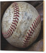 Baseball Close Up Wood Print