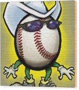 Baseball Cowboy Wood Print