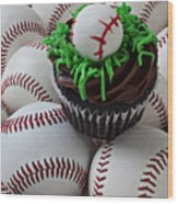 Baseball Cupcake Wood Print by Garry Gay