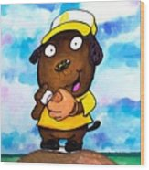 Baseball Dog 2 Wood Print