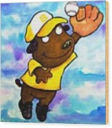 Baseball Dog 4 Wood Print