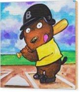 Baseball Dog Wood Print by Scott Nelson