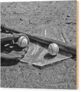 Baseball Game In Black And White Wood Print