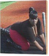Baseball Girl 3 Wood Print
