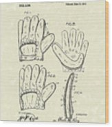 Baseball Glove 1910 Patent Art Wood Print by Prior Art Design