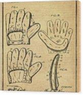 Baseball Glove Patent 1910 Sepia With Border Wood Print