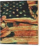 Baseball Grunge Barn Door Wood Print