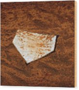 Baseball Homeplate In Brown Dirt For Sports American Past Time Wood Print