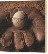 Baseball In Glove Wood Print by John Wong