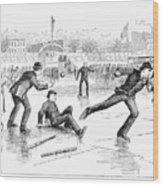 Baseball On Ice, 1884 Wood Print by Granger