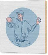 Baseball Pitcher Throwing Ball Circle Drawing Wood Print