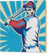 Baseball Player Batting Retro Wood Print