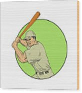 Baseball Player Batting Stance Circle Drawing Wood Print