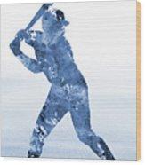 Baseball Player-blue Wood Print