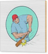 Baseball Player Hitting A Homerun Drawing Wood Print