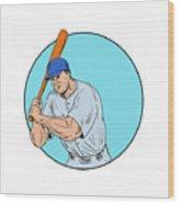 Baseball Player Holding Bat Drawing Wood Print