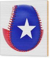 Baseball Star Wood Print