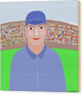Baseball Star Portrait Wood Print