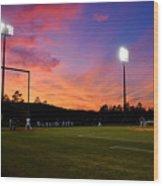 Baseball Sunset Wood Print