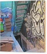 Basement Apartment In Graffiti Alley Wood Print