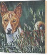 Basenji In Grass Wood Print