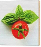 Basil And Cherry Tomato Wood Print